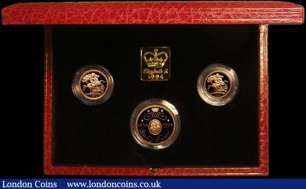 The 1994 United Kingdom Gold Three Coin Sovereign Collection, Two Pounds - Tercentenary of the Bank of England, Sovereign and Half Sovereign S.PGS21 FDC in the Royal Mint box of issue with certificate : English Cased : Auction 167 : Lot 172