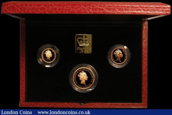 The 1995 United Kingdom Gold Three Coin Sovereign Collection, Two Pounds Peace Dove, Sovereign and Half Sovereign S.PGS23 nFDC to FDC in the Royal Mint box of issue with certificate : English Cased : Auction 167 : Lot 173