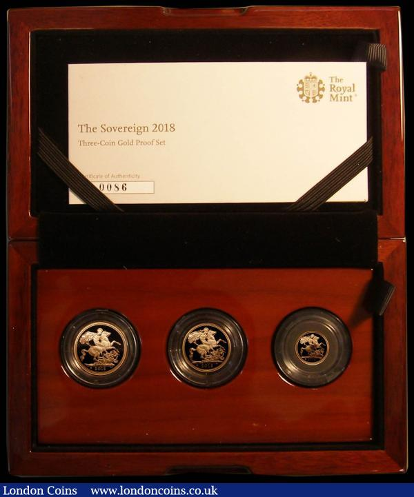 The 2018 United Kingdom 3-coin set Sovereign Collection, 65th Anniversary of the Coronation, comprising Sovereign, Half Sovereign and Quarter Sovereign with 65 in crown privy mark nFDC to FDC in the Royal Mint box of issue with certificate, only 1000 sets issued : English Cased : Auction 167 : Lot 179