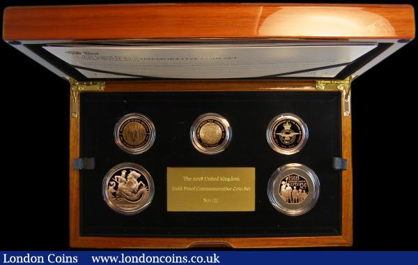 The 2018 United Kingdom Gold Proof Set an impressive 5-coin set in Gold comprising Five Pound Crown 2018 Prince George 5th Birthday, Two Pounds (3) 2018 200th Anniversary of Mary Shelley's Frankenstein, 2018 100th Anniversary of the RAF, 2018 100th Anniversary of the First World War Armistice, and Fifty Pence 2018 Representation of the People Act all Gold Proofs. S.PGC23, The Prince George Five Pound Crown only available in this set. FDC in the Royal Mint box of issue with certificate number 122 of just 175 sets issued : English Cased : Auction 167 : Lot 180