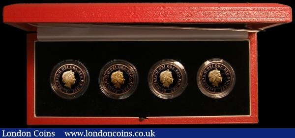 Two Pounds 2002 a 4-coin set Manchester Commonwealth Games Gold Proofs comprising England, Scotland, Wales and Northern Ireland issues, S.PCGS1 FDC in the red Royal Mint box of issue with certificate, a rare set with only 315 sets issued : English Cased : Auction 167 : Lot 201