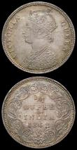 London Coins : A167 : Lot 2336 : India Quarter Rupee 1862 Calcutta UNC or near so with some small edge nicks, beautifully toned and w...
