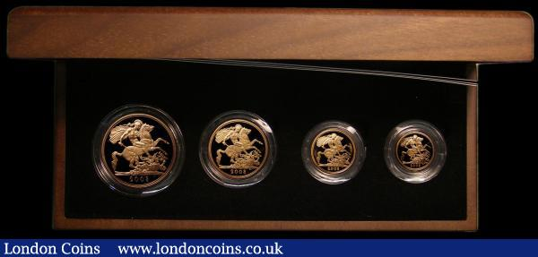 United Kingdom 2008 Gold Proof Four-Coin Sovereign Collection, comprising Gold Five Pounds, Two Pounds, Sovereign and Half Sovereign S.PGS49 in the Royal Mint box of issue with certificate, the Gold Proof Five Pounds for this year has a mintage of only 1750 pieces so is only available in this set. The Two Pounds with a small tone spot on the obverse, the Half Sovereign with a light tone on the obverse nFDC to FDC in the Royal Mint box of issue with certificate : English Cased : Auction 167 : Lot 236