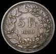 London Coins : A167 : Lot 2375 : Switzerland 5 Francs 1850A KM#11 Fine/Good Fine with grey tone