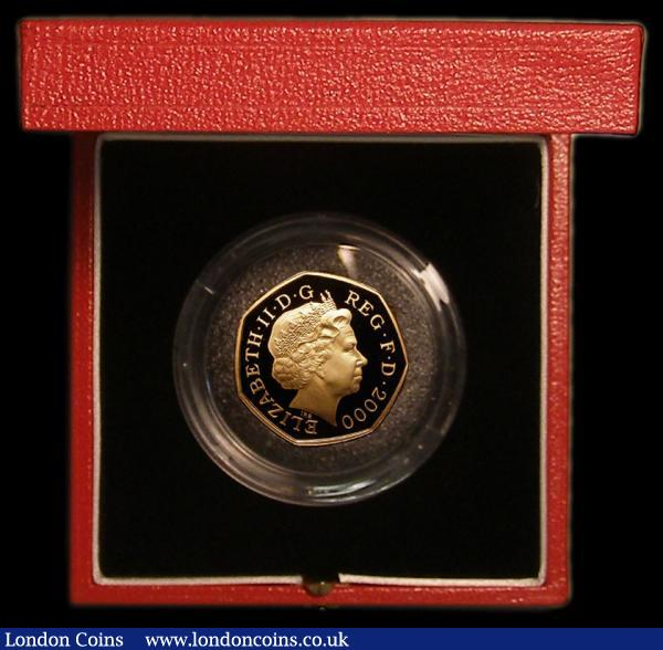 Fifty Pence 2000 150 Years of Public Libraries Gold Proof S. H11, FDC in the Royal Mint red box of issue with certificate, Spink states only 710 pieces issued : English Cased : Auction 167 : Lot 24