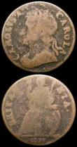 London Coins : A167 : Lot 2427 : Farthings (2) 1672 Loose Drapery Peck 521 Bold Fine or better, 1673 CAROLA error legend, Peck 523 NV...