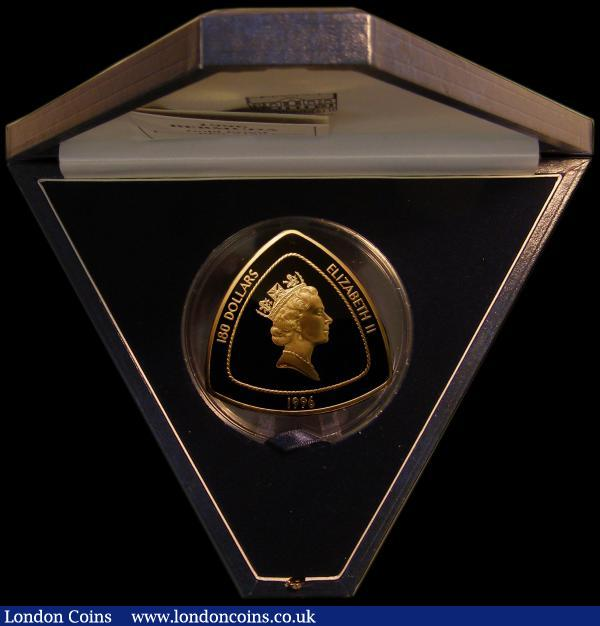 Bermuda 180 Dollars 1996 Bermuda Triangle, Triangular 5oz. Gold Proof struck in .999 gold KM#98, FDC or very near so with a few very small red tone spots. Only 99 of these spectacular pieces were minted, an extremely eye-catching and impressive piece, in the blue Royal Mint box of issue with certificate  : World Cased : Auction 167 : Lot 246