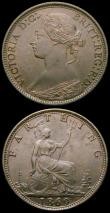 London Coins : A167 : Lot 2469 : Halfpenny 1869 Freeman 306, dies 7+G, EF/NEF with a slightly uneven tone, scarce, Farthing 1869 Free...