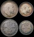 London Coins : A167 : Lot 2479 : Maundy an assembled Set 1902 the Fourpence, Threepence and Penny the standard issue, the Twopence a ...