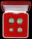 London Coins : A167 : Lot 2490 : Maundy Set 1913 ESC 2530, Bull 3973 A/UNC to UNC with some tiny rim nicks, with attractive, blue, gr...