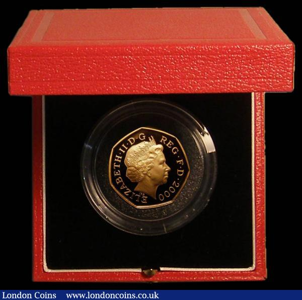 Fifty Pence 2000 150 Years of Public Libraries Gold Proof S. H11, FDC in the Royal Mint red box of issue with certificate, Spink states only 710 pieces issued : English Cased : Auction 167 : Lot 25