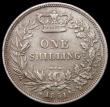 London Coins : A167 : Lot 2518 : Shilling 1851 as ESC 1298, Bull 2999 with double-barred A in VICTORIA, Fine/Good Fine with some surf...