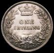 London Coins : A167 : Lot 2519 : Shilling 1869 ESC 1319, Bull 3037, Die Number 4, EF once cleaned, a rare date and possibly under-rat...