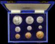 London Coins : A167 : Lot 291 : South Africa Proof Set 1949 a 9-coin set Crown to Farthing KM#PS21 nFDC to FDC the Silver retaining ...