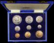 London Coins : A167 : Lot 292 : South Africa Proof Set 1950 a 9-coin set Crown to Farthing KM#PS22 nFDC to FDC the Silver with some ...