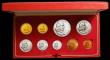 London Coins : A167 : Lot 293 : South Africa Proof Set 1965 toned nFDC in the Red SAM box of issue, 9 coin set with gold 2 Rand and ...