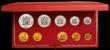 London Coins : A167 : Lot 296 : South Africa Proof Set 1971 toned nFDC (the non gold coins once lacquered) in the Red SAM box of iss...