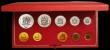 London Coins : A167 : Lot 297 : South Africa Proof Set 1973 toned nFDC in the Red SAM box of issue, 10 coin set with gold 2 Rand and...