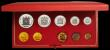 London Coins : A167 : Lot 298 : South Africa Proof Set 1975 toned nFDC in the Red SAM box of issue, 10 coin set with gold 2 Rand and...