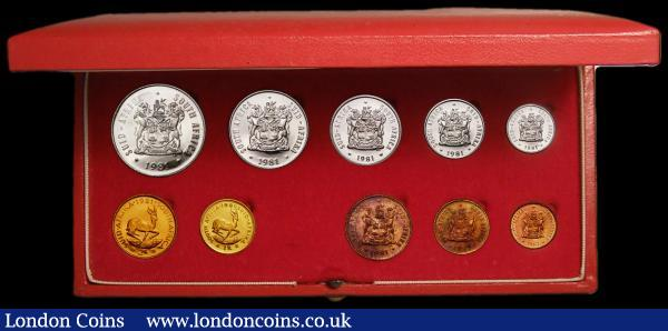 South Africa Proof Set 1981 toned nFDC in the Red SAM box of issue, 10 coin set with gold 2 Rand and 1 Rand KM PS113 : World Cased : Auction 167 : Lot 301