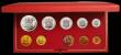 London Coins : A167 : Lot 301 : South Africa Proof Set 1981 toned nFDC in the Red SAM box of issue, 10 coin set with gold 2 Rand and...
