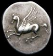 London Coins : A167 : Lot 325 : Ancient Greece - Corinth Silver Stater Pegasus Obverse: Helmeted bust of Athena, left, with mailed n...