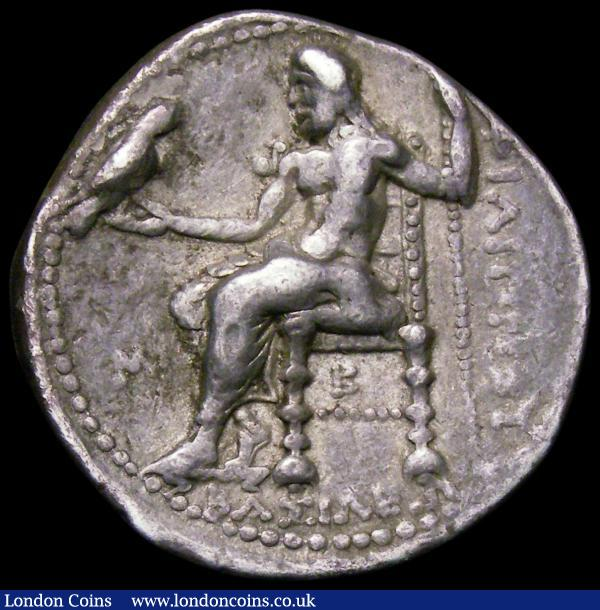 Ancient Greece Ar Tetradrachm. Macedon. Philip III 323-317BC. Obverse: Head of Herakles right, wearing lion's skin head-dress, Reverse: Zeus seated left holding eagle and sceptre, M in left field, with B below chair. Cf.S.6748 GVF : Ancient Coins : Auction 167 : Lot 328