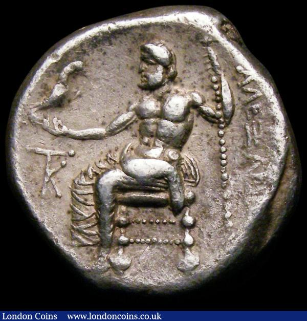 Cyprus - Kition Tetradrachm Alexander III (325-320BC) Kiton, Cyprus, in the name and types of Macedon, struck under King Pumiathon. Obverse: Head of Herakles right, wearing lions skin, Reverse: Zeus seated left, holding sceptre, with K in left field VF on a slightly irregular flan : Ancient Coins : Auction 167 : Lot 339