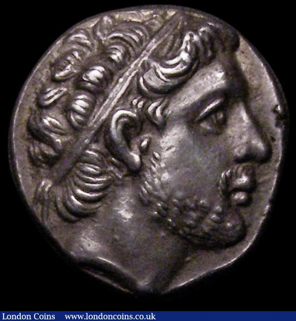 Macedonian Kingdom Drachm in silver Philip V 221-179 BC Head of Philip Obv, club with thunderbolt outside wreath reverse nicely toned EF or near so : Ancient Coins : Auction 167 : Lot 341