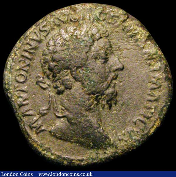 Sestertius Marcus Aurelius Reverse: Salus standing left, holding patera and cornucopia, 20.27 grammes, about Fine with some green patina : Ancient Coins : Auction 167 : Lot 364