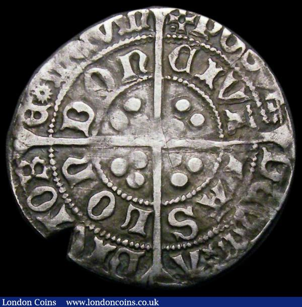 Groat Edward IV Second Reign, London Mint, Fleurs on Cusps, no marks by bust, S.2098, North 1631 mintmark Pierced Cross with one pellet (XVIII). B's for R's in some parts of the legend,  appears to be a 12-pointed Star in ADIVTORE [star]UM, NVF with some hairlines and an edge chip, an unusual type, comes with three old collectors tickets one dating from 1979 : Hammered Coins : Auction 167 : Lot 376
