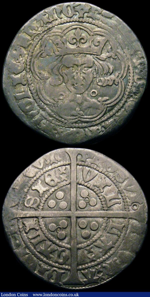 Groat Henry VI Annulet Issue, with annulets on reverse, Calais mint S.1836 mintmark Incurved Pierced Cross, Fine, toned, Sixpence James I 1605 Second Coinage, Third Bust S.2658 mintmark unclear VG with some loss of flan : Hammered Coins : Auction 167 : Lot 377