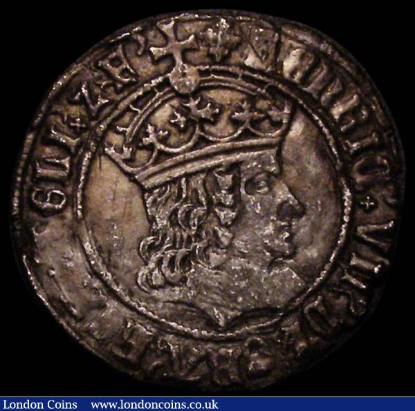 Groat Henry VII Tentative issue, Double band to crown, S.2254 mintmark Cross Crosslet (1504-1505) Good bold bust, approaching VF and rare thus : Hammered Coins : Auction 167 : Lot 378