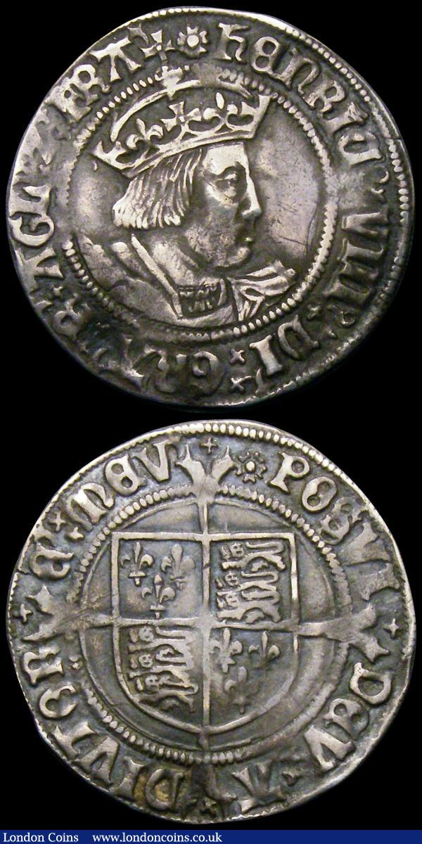 Groats Henry VIII (2) Second Coinage Laker Bust B S.2337D mintmark Rose, Fine/Good Fine with grey tone, Second Coinage Laker Bust D, S.2337E mintmark Sunburst Fine with a flan chip and crack between 4 and 5 o'clock, Rare : Hammered Coins : Auction 167 : Lot 384