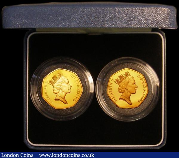 Fifty Pences a 2-coin set 1992/1993 EU Presidency Gold Proof nFDC lightly toning, and 1994 D-Day Landings Gold Proof, nFDC with a hint of toning, in the blue Royal Mint box of issue with certificate, only 250 sets issued : English Cased : Auction 167 : Lot 39