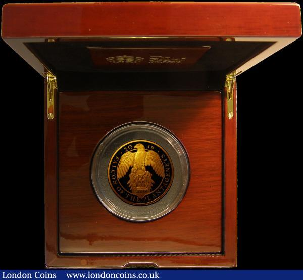 Five Hundred Pounds 2019 Queen's Beasts - Falcon of the Plantagenets 5oz. Gold Proof FDC in the Royal Mint box of issue with certificate number 21 of just 85 issued with just 75 in this format : English Cased : Auction 167 : Lot 48