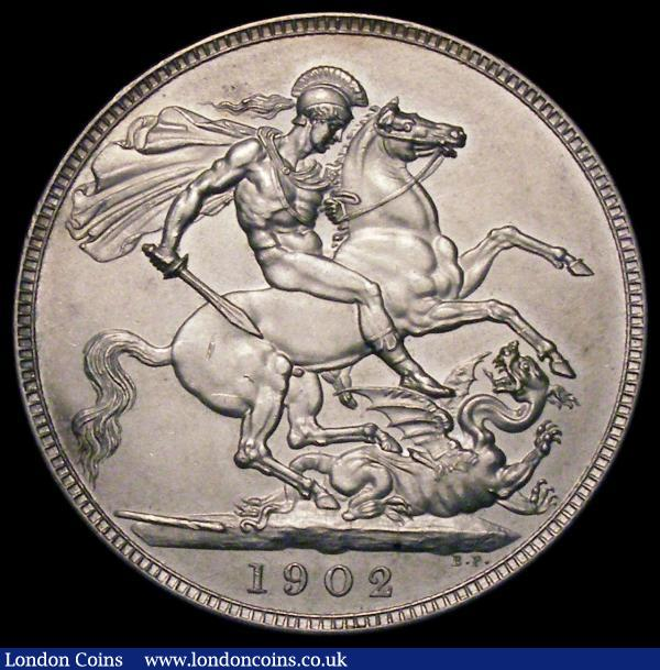 Crown 1902 Matt Proof ESC 362, Bull 3562 UNC with a small spot in the obverse field : English Coins : Auction 167 : Lot 490