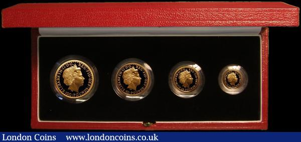Britannia Gold Proof Set 1998 the 4-coin set comprising £100 One Ounce, £50 Half Ounce, £25 Quarter Ounce and £10 One Tenth Ounce, S.PBG15 a few tiny contact marks visible under strong magnification, otherwise FDC retaining full mint brilliance, in the Royal Mint box of issue with certificate, only 750 sets issued : English Cased : Auction 167 : Lot 5