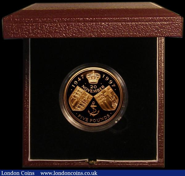 Five Pound Crown 1997 Queen Elizabeth II and Prince Philip Golden Wedding Gold Proof S.L4 FDC in the Royal Mint box of issue with certificate : English Cased : Auction 167 : Lot 50