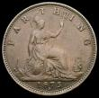 London Coins : A167 : Lot 535 : Farthing 1875H 5 Berries in wreath, with full brooch, perfect E in REG, Freeman 530 dies 3+C NVF/GF,...