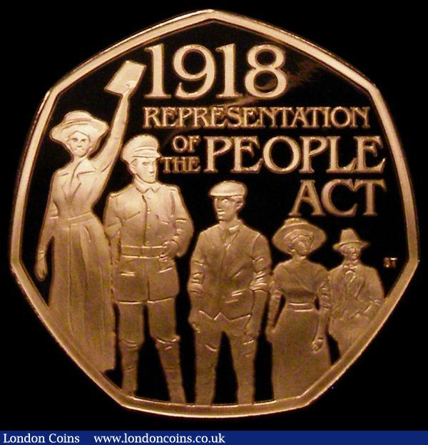 Fifty Pence 2018 100th Anniversary of the Representation of the People's Act Gold Proof S.H48 FDC in capsule, no certificate, Rare with a mintage of just 500 pieces : English Coins : Auction 167 : Lot 542