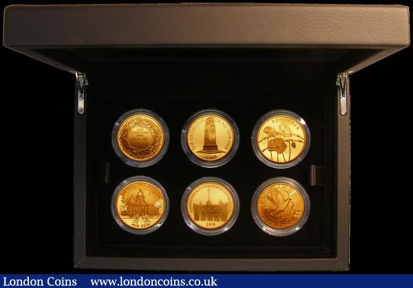 Five Pound Crowns 100th Anniversary of the First World War a 6-coin set in gold 2018 Fifth Set S.PGC24 comprising Remembrance Day, War Memorials, Poppies, Imperial War Museums, Commonwealth War Graves, and Peace coins, a fabulous eye-catching set all coins Gold Proofs FDC and as yet unlisted in the Spink catalogue. The first such set we have offered, and with only 25 sets minted this is sure to be a much sought after set : English Cased : Auction 167 : Lot 60