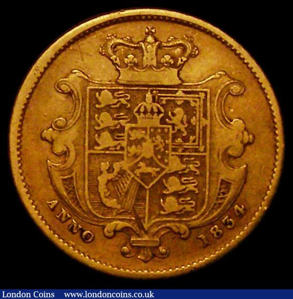 Half Sovereign 1834 Small size, on a 17.9mm flan, Marsh 410 Good Fine/Fine and a collectable example of this short-lived type : English Coins : Auction 167 : Lot 682