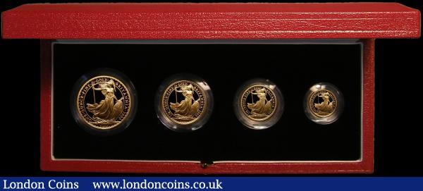 Britannia Gold Proof Set 2000 the 4-coin set comprising £100 One Ounce, £50 Half Ounce, £25 Quarter Ounce and £10 One Tenth Ounce, S.PBG17 FDC retaining full mint brilliance in the Royal Mint box of issue with certificate. Only 750 sets issued : English Cased : Auction 167 : Lot 7