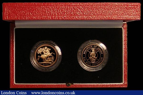 GB/Jersey a 2-coin set comprising GB Sovereign 2000 Proof FDC and Jersey Sovereign 2000 FDC in the Royal Mint box of issue with certificate : English Cased : Auction 167 : Lot 73
