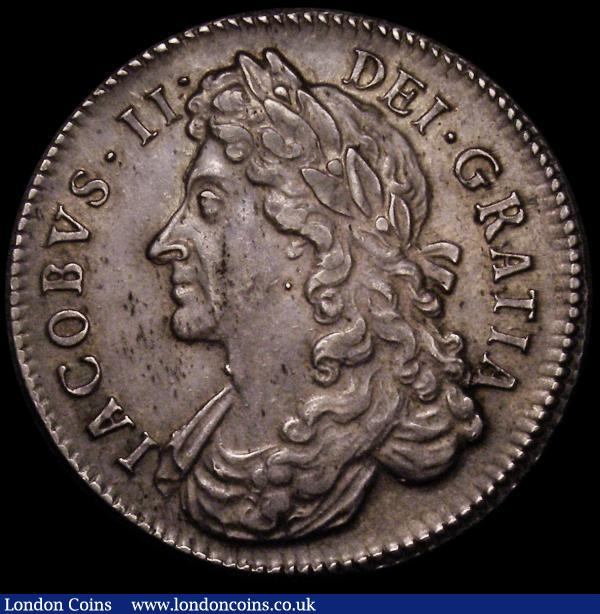 Halfcrown 1687 TERTIO 7 over 6  ESC 499 rare, EF with a pleasing even tone, a few flecks of haymarking hardly detract : English Coins : Auction 167 : Lot 743