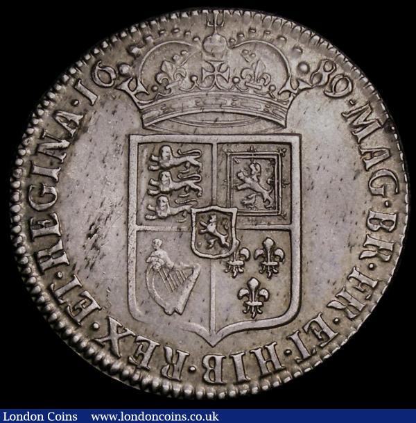 Halfcrown 1689 First Shield, No Frosting, with Pearls, ESC 507, Bull 835, EF with a bold and even strike in an LCGS holder and graded LCGS 65 : English Coins : Auction 167 : Lot 745
