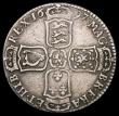 London Coins : A167 : Lot 748 : Halfcrown 1697C NONO ESC 545, Bull 1068 No Stops after MAG, FRA and HIB About Fine with some old sur...