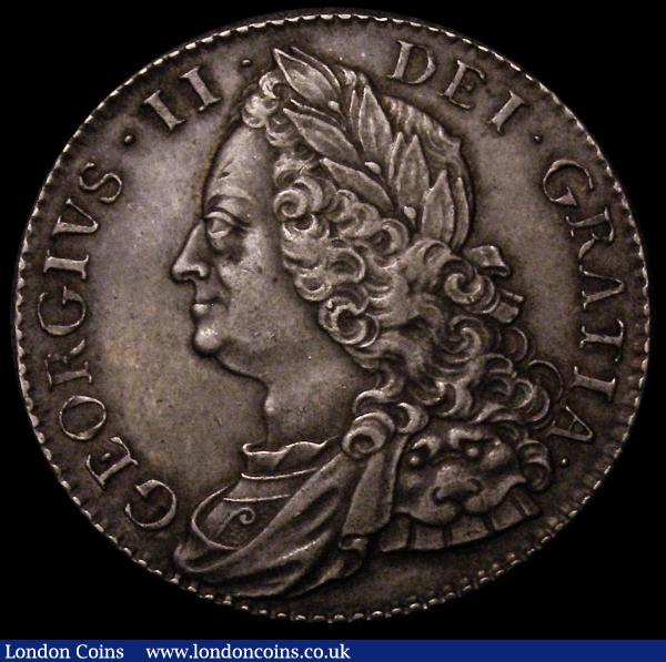 Halfcrown 1751 ESC 610 choice gEF with an even tone and a scarce date in high grade : English Coins : Auction 167 : Lot 769