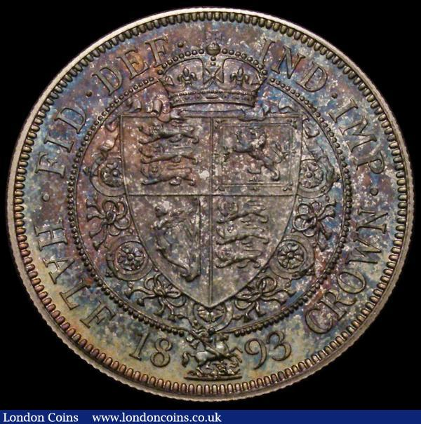 Halfcrown 1893 Proof ESC 727, Bull 2779, Davies 663P nFDC with a choice deep and multicoloured tone, a superb piece with a lot of eye appeal; : English Coins : Auction 167 : Lot 804